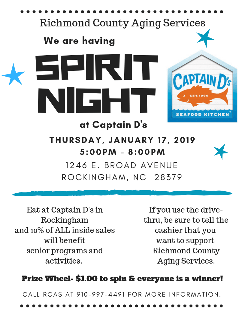 Aging Services- Captain Ds Fundraiser night jan 2019