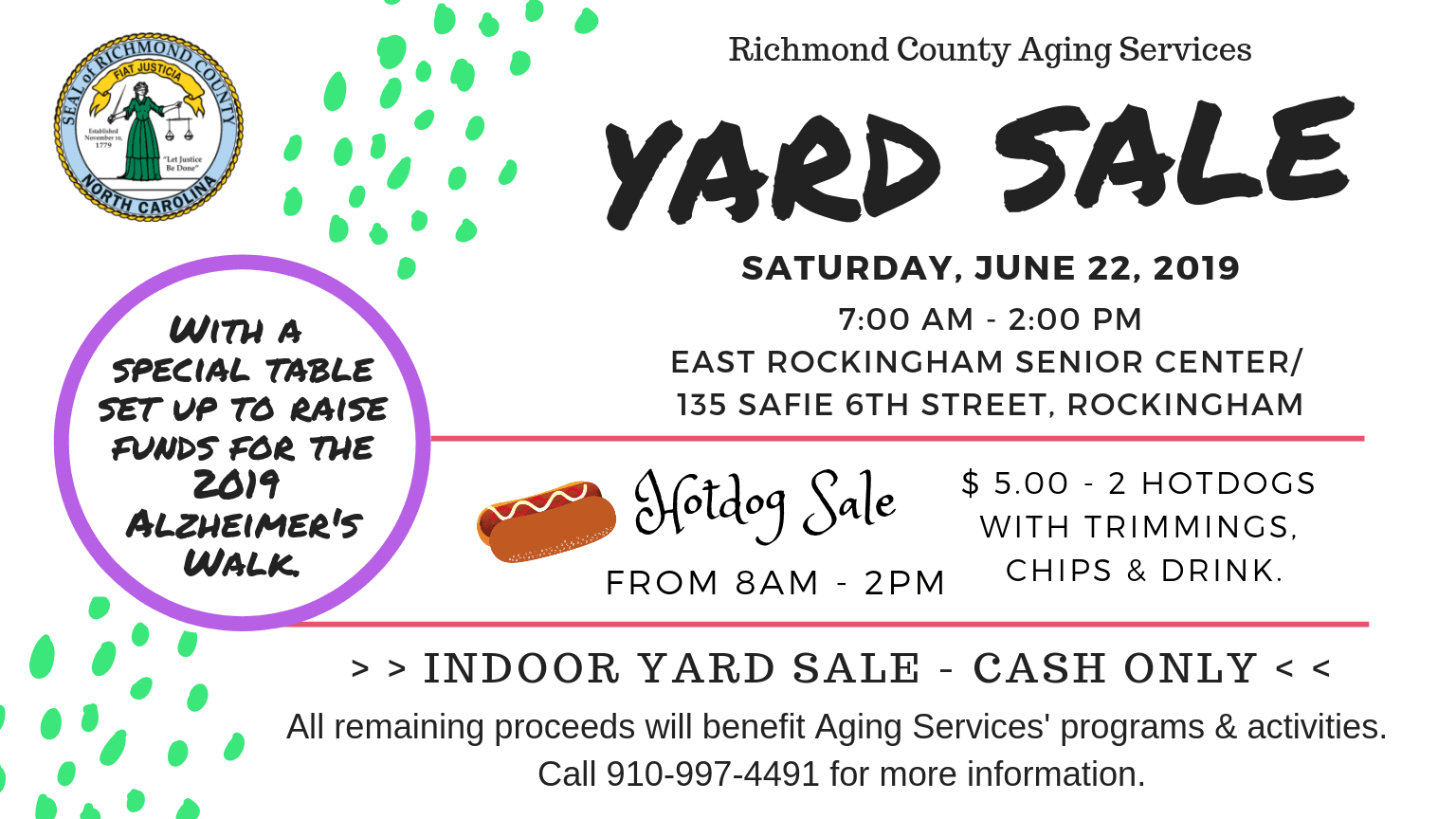 Aging Services- Yard Sale and Hotdog Sale Flyer 2019